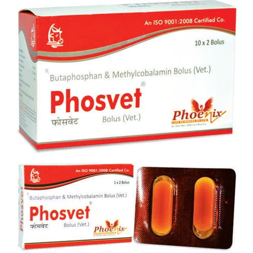 Phosvet bolus and injection for growth promoter for animls