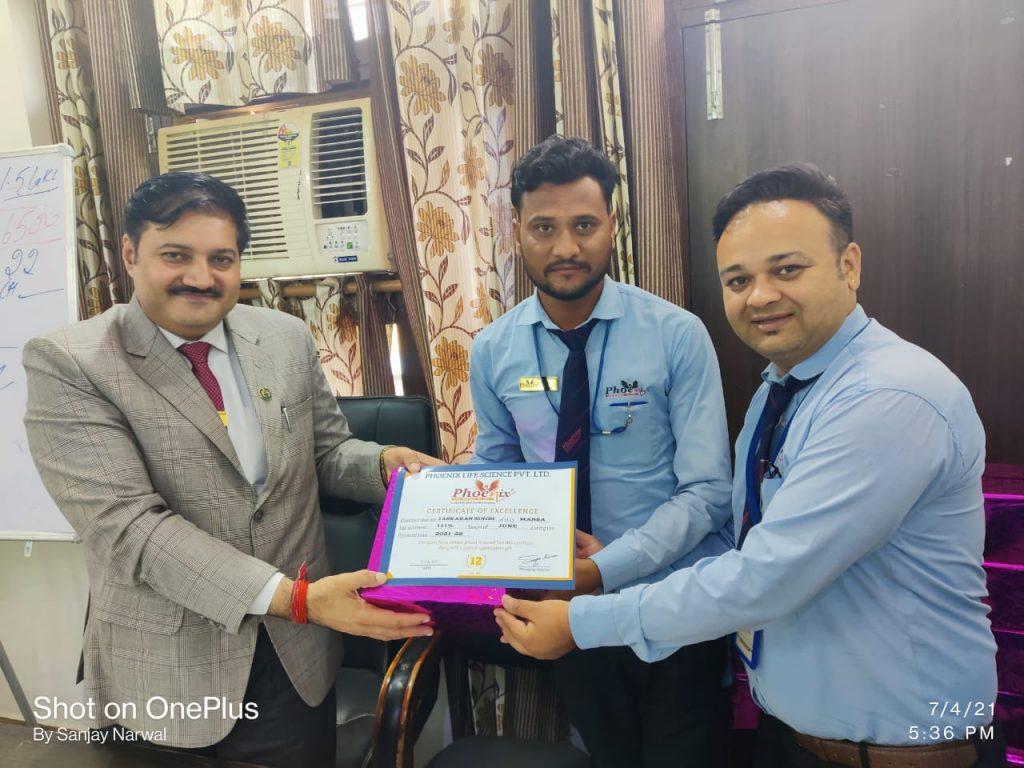 Jaskaran Singh - Mansa- June Month Achiever - Awarded by FM Shekhar Joshi and Managing Director Sanjay Narwal