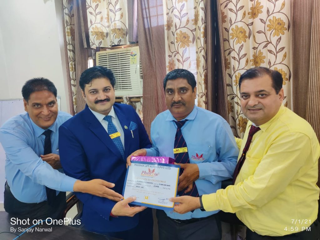 Pardeep pandey H.Q Varanasi by FM Sunil Pandey and Country Head Shashi Shekhar Upadhyay and Country Head Sanjay Narwal - Phoenix Life Science Pvt. Ltd.