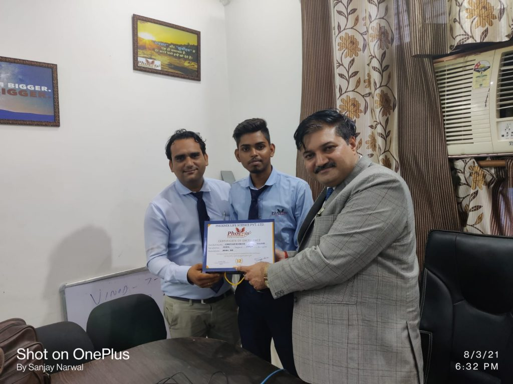Chetan Hisar achiever awarded by Dr. Sanjay Narwal