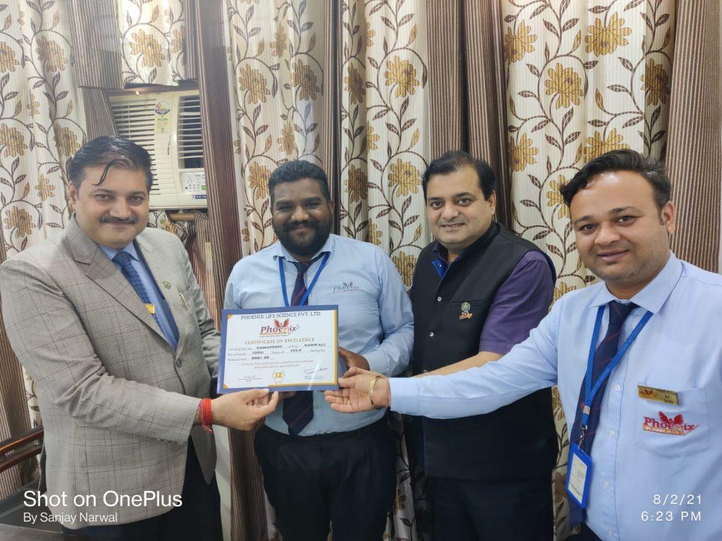 Ramandeep Singh Dabwali awarded by Dr. Shashi Shekhar Upadhyay And Dr. Sanjay Narwal